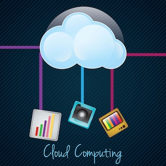 Cloud computing concept on dark background with differentes apps vector illustration