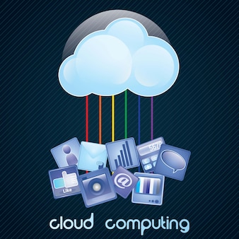 Cloud computing concept on dark background with a lot of icons vector illustration