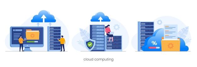 クラウドコンピューティングの概念、データセンター、ファイル管理、クラウドストレージフラットイラストベクトル