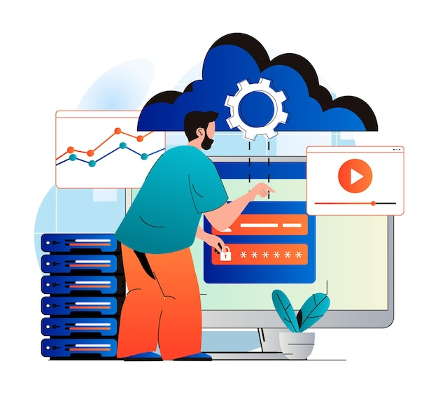 Cloud computing concept in modern flat design man user gains access to cloud storage