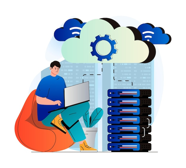 Cloud computing concept in modern flat design man works at laptop and uses cloud technologies