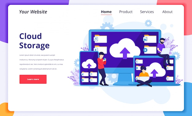 Cloud computing concept, people work near giant devices, digital storage, data center. landing page design template
