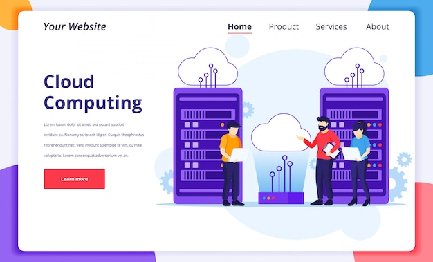 Cloud computing concept, people working on laptop and server, digital storage, data center. landing page design template