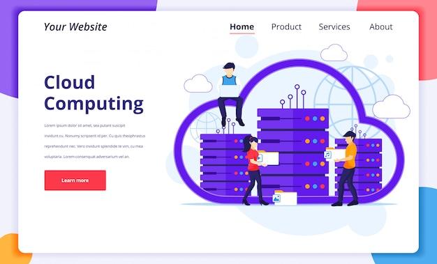 Концепция облачных вычислений, люди, работающие на ноутбуке и сервере, цифровое хранилище, центр обработки данных. шаблон оформления целевой страницы