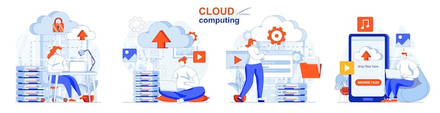 Cloud computing concept set cloud service server for storing and processing data