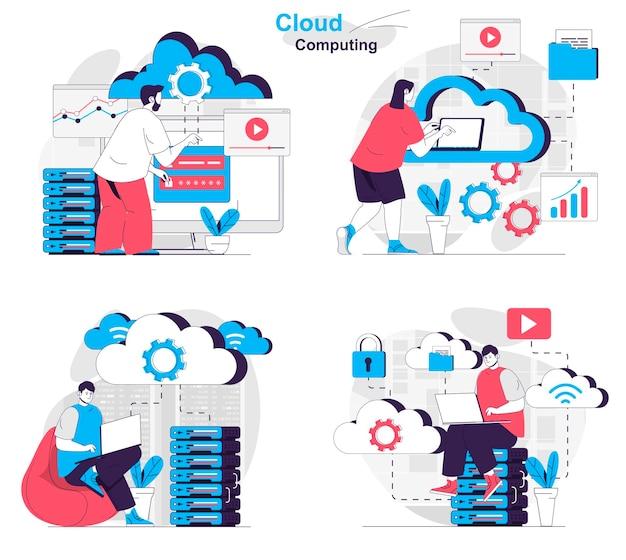 Cloud computing concept set computer engineers work at data center server room