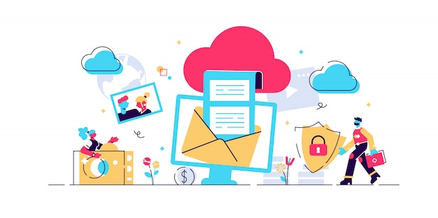 Cloud computing concept for web page, banner, presentation, social media, documents, cards, posters. illustration devices connected onto a cloud data storage, web technology