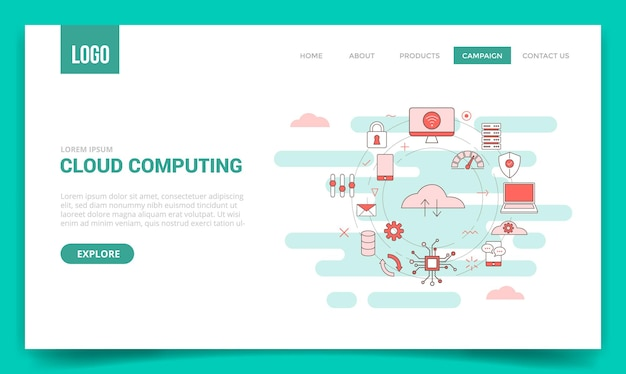 Cloud computing concept with circle icon for website template or landing page, homepage with outline style