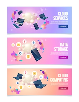 Cloud computing and data storage online services, hosting company web banners, landing pages set