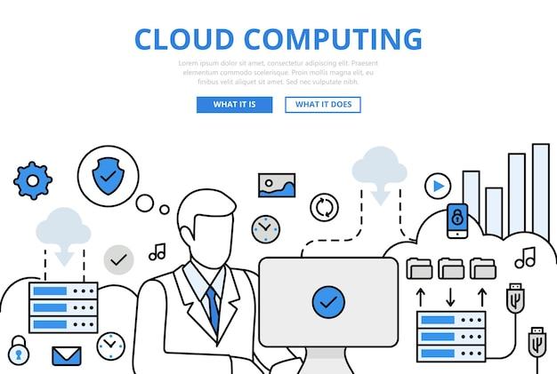 クラウドコンピューティングデータストレージオペレーターコンテンツアップロードダウンロードコンセプトフラットラインスタイル。