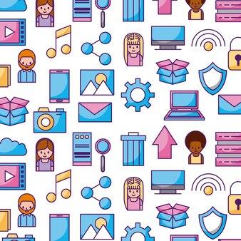 Cloud computing digital app seamless pattern