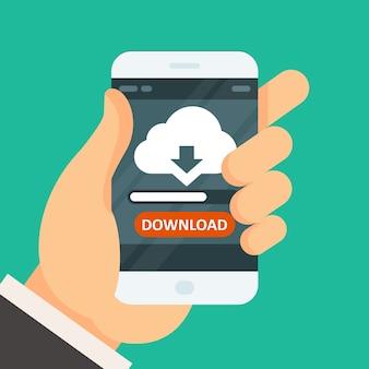 Cloud computing download app on smartphone with progress bar
