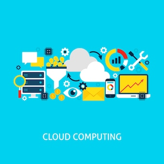 클라우드 컴퓨팅 평면 개념입니다. 포스터 디자인 벡터 일러스트 레이 션. 빅 데이터 다채로운 개체의 집합입니다.
