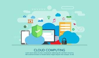 Cloud Computing Flat Design Concept, Landing Page Concept Background