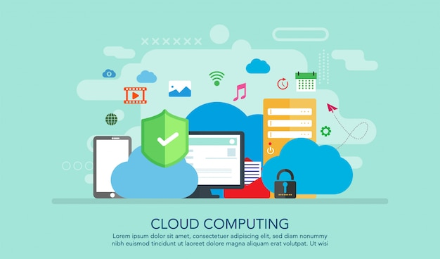 Cloud computing flat design concept, landing page concept background