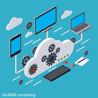 Cloud computing flat isometric vector concept illustration