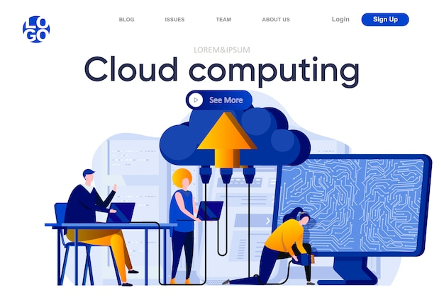 Cloud computing flat landing page. engineers servicing cloud database system illustration. hosting platform administrating, data center computing web page composition with people characters.