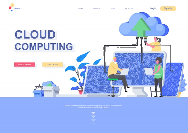 Cloud computing flat landing page template. big data processing and cloud storage technology, it specialist working situation. web page with people characters. hosting platform illustration.
