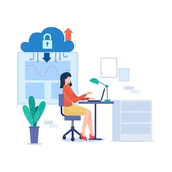 Cloud computing illustration in flat style