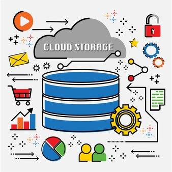 Cloud computing infographic flat line doodle.