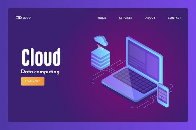 Cloud computing isometric concept
