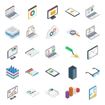 Cloud computing isometric icons pack