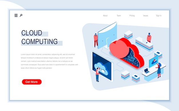 Cloud computing isometric landing page template.