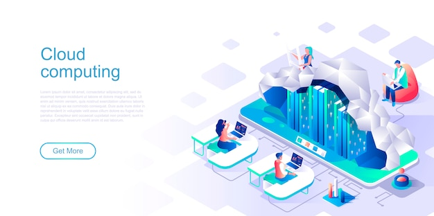 Cloud computing isometric landing page vector template.