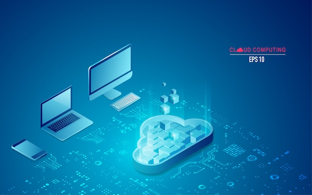 Cloud computing in isometric