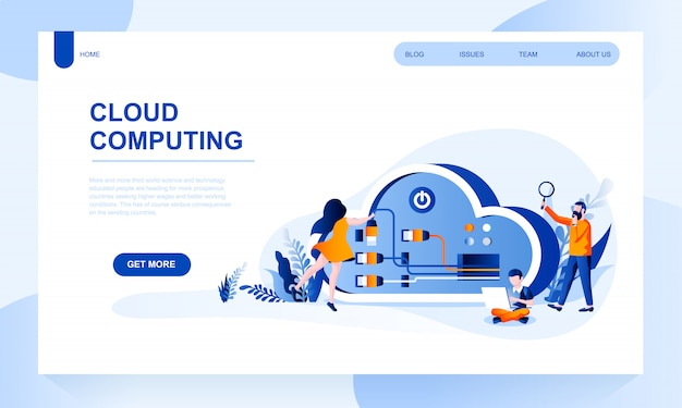 Cloud computing landing page template with header