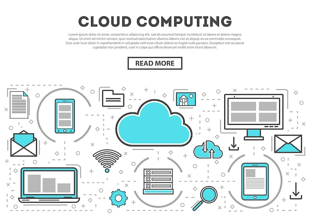 Cloud computing linear style infographics