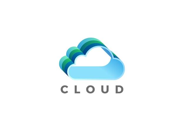 Progettazione di logo di cloud computing. logotipo di tecnologia di rete di archiviazione dati