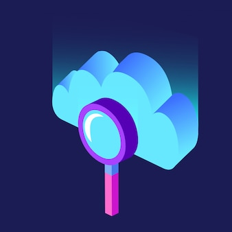 Cloud computing and magnifying glass isometric blurred