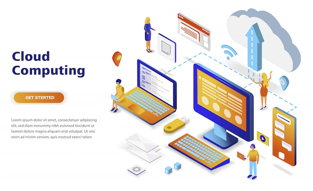 Cloud computing modern flat design isometric concept