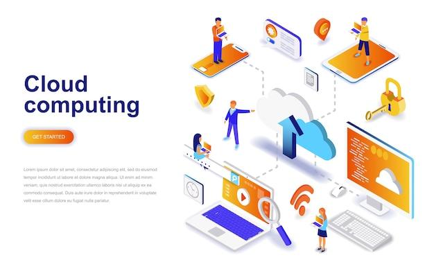 Cloud computing modern flat design isometric concept.