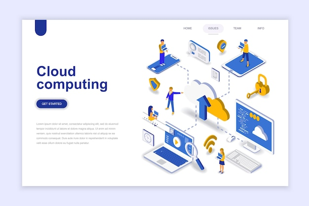 Cloud computing modern flat design isometric concept.