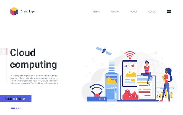 Cloud computing network concept landing page