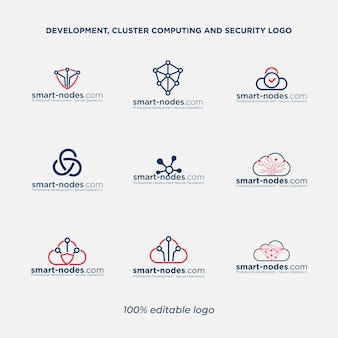 Cloud computing and network security logo bundle