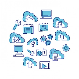 Cloud computing network set icons