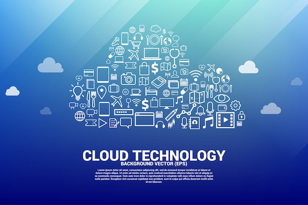 Cloud computing network shaped with functional icon.