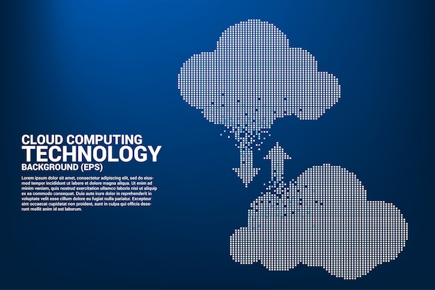 Cloud computing network technology pixel graphic style.