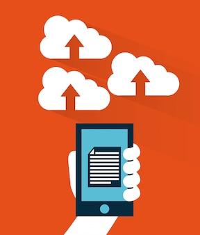 Cloud computing over  orange background vector illustration