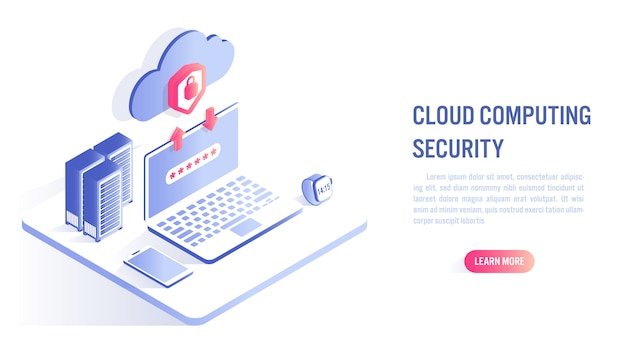 Cloud computing security concept. call to action or web banner template