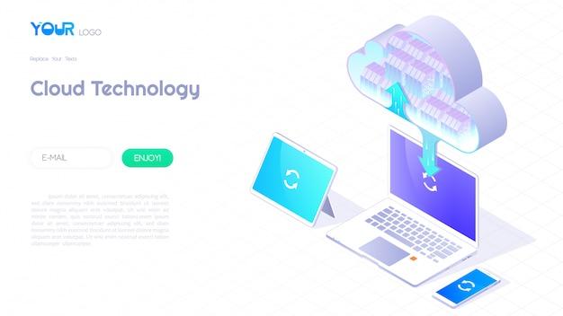 クラウドコンピューティングサービスコンセプト、クラウドデータストレージ3 d等尺性とwebテンプレートのクラウドテクノロジーアイコンバナー