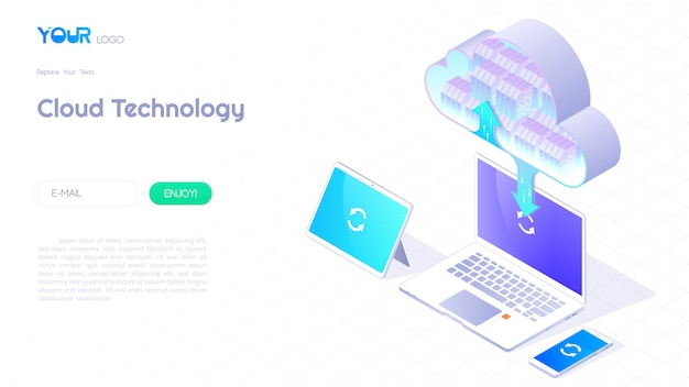Cloud computing service concept, cloud data storage 3d isometric and cloud technology icon banner for web template