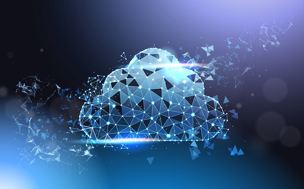 Cloud computing service futuristic low poly mesh wireframe on blue background modern data technology concept
