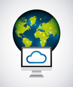Cloud computing service isolated icon