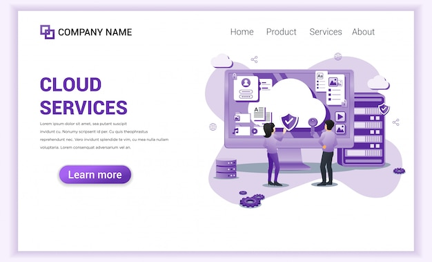 Cloud computing services, cloud storage  for landing page template.
