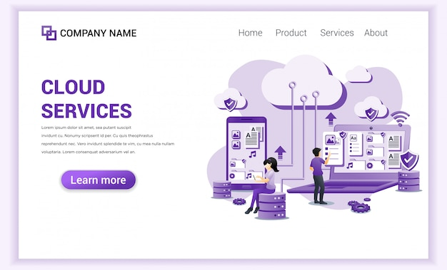 Cloud computing services, data center, cloud storage  for landing page template.