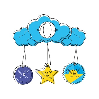 Cloud computing shopping online icon